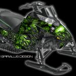 Devil wrap for Arctic Cat Procross/Proclimb preview in green, shown with optional tunnel section