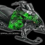 Preview of The Webby Metal sled wrap, for Arctic Cat Procross & Proclimb snowmobiles, in green