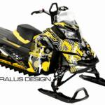 Preview of The Squiggly sled wrap for Ski-Doo REV XM & XS platform sleds, in yellow