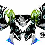 "Ski Doo REV XM/XS chassis sled wrap ""The North"" shown in green/blue/grey"