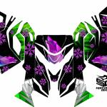 "Ski Doo REV XM/XS chassis sled wrap ""The North"" shown in green/pink/purple"