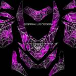 The Webby Metal sled graphic for Ski Doo REV XP sleds, in pink. For Summits, MXZ, Renegades