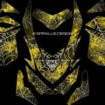 The Webby Metal sled graphic for Ski Doo REV XP sleds, in yellow. For Summits, MXZ, Renegades