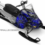 Preview of the Webby Metal sled graphic for Ski Doo REV XP sleds, in blue. For Summits, MXZ, Renegades